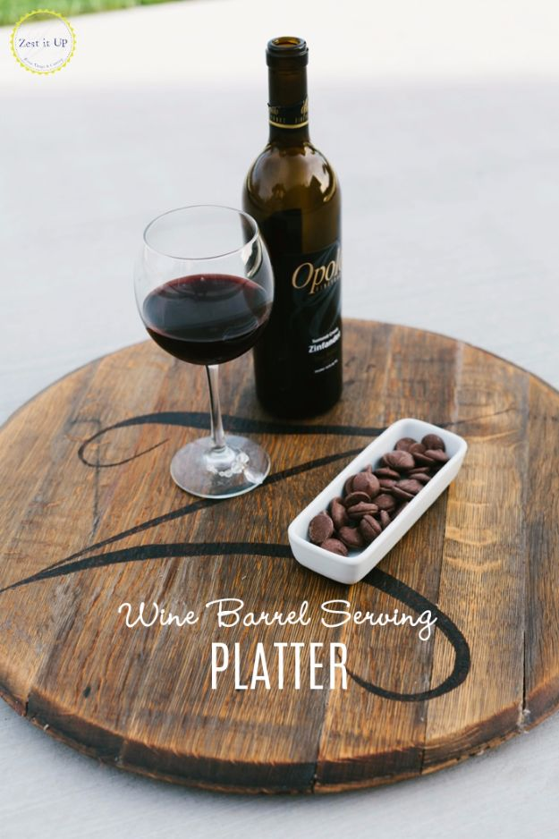 DIY Ideas With Old Barrels - Wine Barrel Serving Platter - Rustic Farmhouse Decor Tutorials and Projects Made With a Barrel - Easy Vintage Home Decor for Kitchen, Living Room and Bathroom - Creative Country Crafts, Dog Beds, Seating, Furniture, Patio Decor and Rustic Wall Art and Accessories to Make and Sell