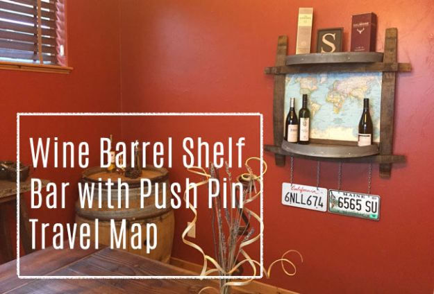DIY Ideas With Old Barrels - Wine Barrel Shelf Side Bar With Push Pin Travel Map - Rustic Farmhouse Decor Tutorials and Projects Made With a Barrel - Easy Vintage Home Decor for Kitchen, Living Room and Bathroom - Creative Country Crafts, Dog Beds, Seating, Furniture, Patio Decor and Rustic Wall Art and Accessories to Make and Sell tp://diyjoy.com/diy-projects-old-barrels