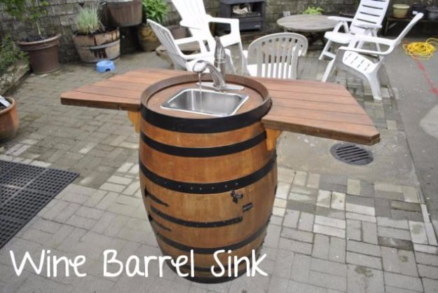 DIY Ideas With Old Barrels - Wine Barrel Sink - Rustic Farmhouse Decor Tutorials and Projects Made With a Barrel - Easy Vintage Home Decor for Kitchen, Living Room and Bathroom - Creative Country Crafts, Dog Beds, Seating, Furniture, Patio Decor and Rustic Wall Art and Accessories to Make and Sell tp://diyjoy.com/diy-projects-old-barrels