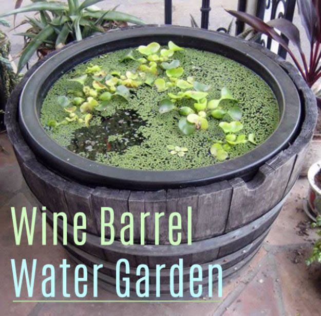DIY Ideas With Old Barrels - Wine Barrel Water Garden - Rustic Farmhouse Decor Tutorials and Projects Made With a Barrel - Easy Vintage Home Decor for Kitchen, Living Room and Bathroom - Creative Country Crafts, Dog Beds, Seating, Furniture, Patio Decor and Rustic Wall Art and Accessories to Make and Sell