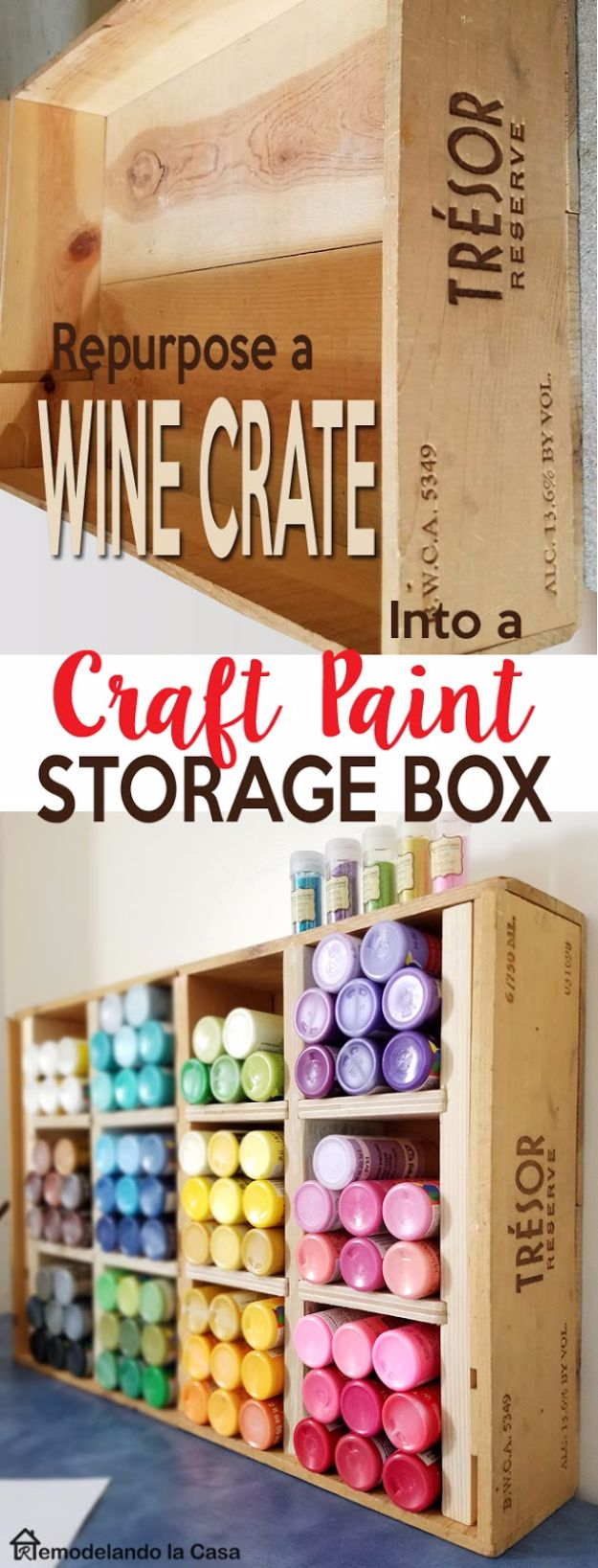 DIY Craft Room Storage Ideas and Craft Room Organization Projects - Wine Crate Craft Paint Storage Box - Cool Ideas for Do It Yourself Craft Storage, Craft Room Decor and Organizing Project Ideas - fabric, paper, pens, creative tools, crafts supplies, shelves and sewing notions #diyideas #craftroom