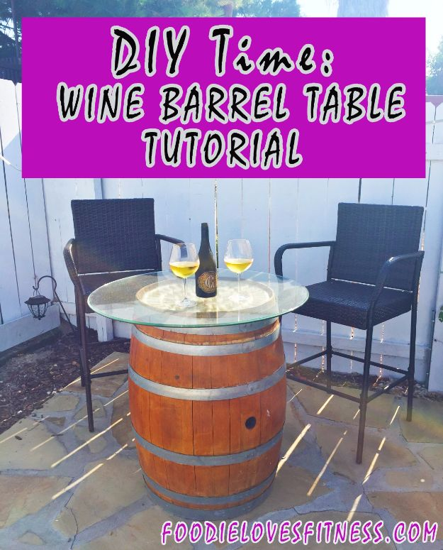 DIY Ideas With Old Barrels - Wine Table - Rustic Farmhouse Decor Tutorials and Projects Made With a Barrel - Easy Vintage Home Decor for Kitchen, Living Room and Bathroom - Creative Country Crafts, Dog Beds, Seating, Furniture, Patio Decor and Rustic Wall Art and Accessories to Make and Sell tp://diyjoy.com/diy-projects-old-barrels
