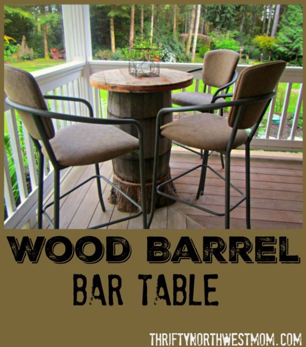 DIY Ideas With Old Barrels - Wood Barrel Bar Table - Rustic Farmhouse Decor Tutorials and Projects Made With a Barrel - Easy Vintage Home Decor for Kitchen, Living Room and Bathroom - Creative Country Crafts, Dog Beds, Seating, Furniture, Patio Decor and Rustic Wall Art and Accessories to Make and Sell tp://diyjoy.com/diy-projects-old-barrels