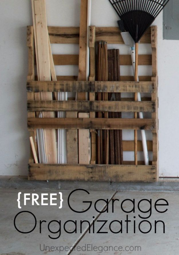 DIY Projects Your Garage Needs - Wood Pallet Garage Storage - Do It Yourself Garage Makeover Ideas Include Storage, Mudroom, Organization, Shelves, and Project Plans for Cool New Garage Decor - Easy Home Decor on A Budget http://diyjoy.com/diy-garage-ideas