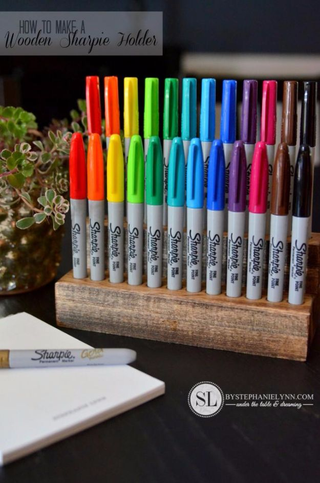DIY Craft Room Storage Ideas and Craft Room Organization Projects - Wooden Sharpie Holder - Cool Ideas for Do It Yourself Craft Storage, Craft Room Decor and Organizing Project Ideas - fabric, paper, pens, creative tools, crafts supplies, shelves and sewing notions #diyideas #craftroom