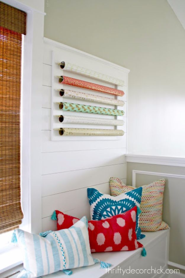 DIY Craft Room Storage Ideas and Craft Room Organization Projects - Wrapping Paper Storage - Cool Ideas for Do It Yourself Craft Storage, Craft Room Decor and Organizing Project Ideas - fabric, paper, pens, creative tools, crafts supplies, shelves and sewing notions #diyideas #craftroom