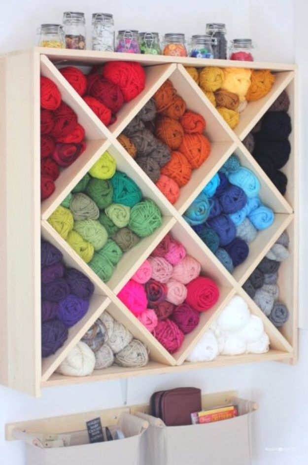 DIY Craft Room Storage Ideas and Craft Room Organization Projects - Yarn Storage System - Cool Ideas for Do It Yourself Craft Storage, Craft Room Decor and Organizing Project Ideas - fabric, paper, pens, creative tools, crafts supplies, shelves and sewing notions http://diyjoy.com/diy-craft-room-storage