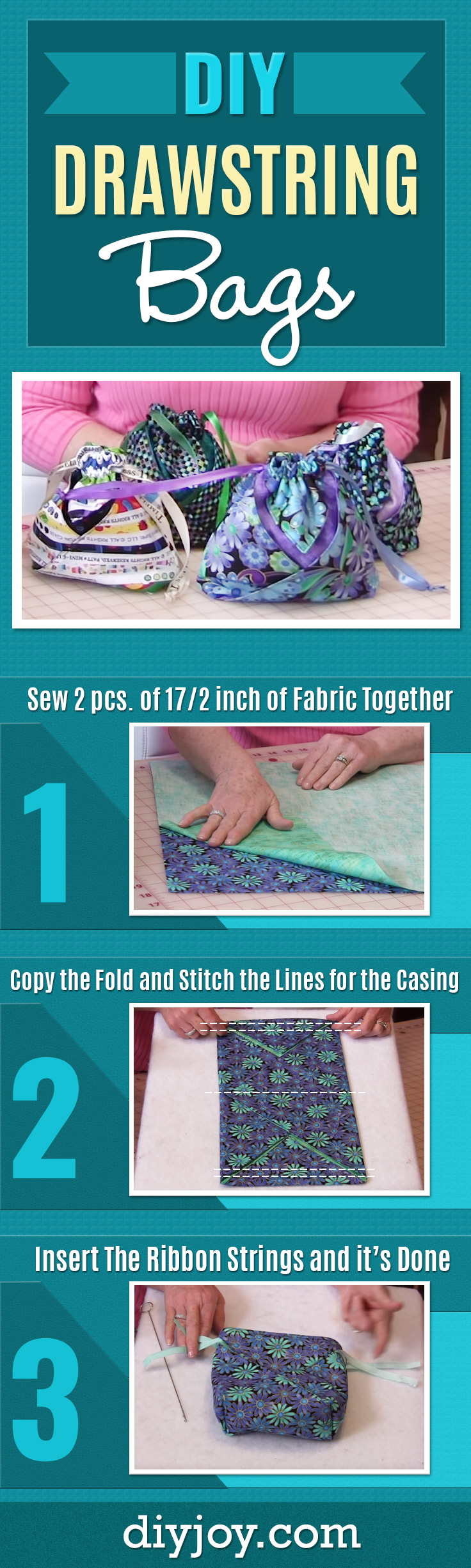 DIY Drawstring Bags - Quick and Easy Sewing Projects for Beginners - How to Sew An Easy Bag - Youtube Tutorial Video
