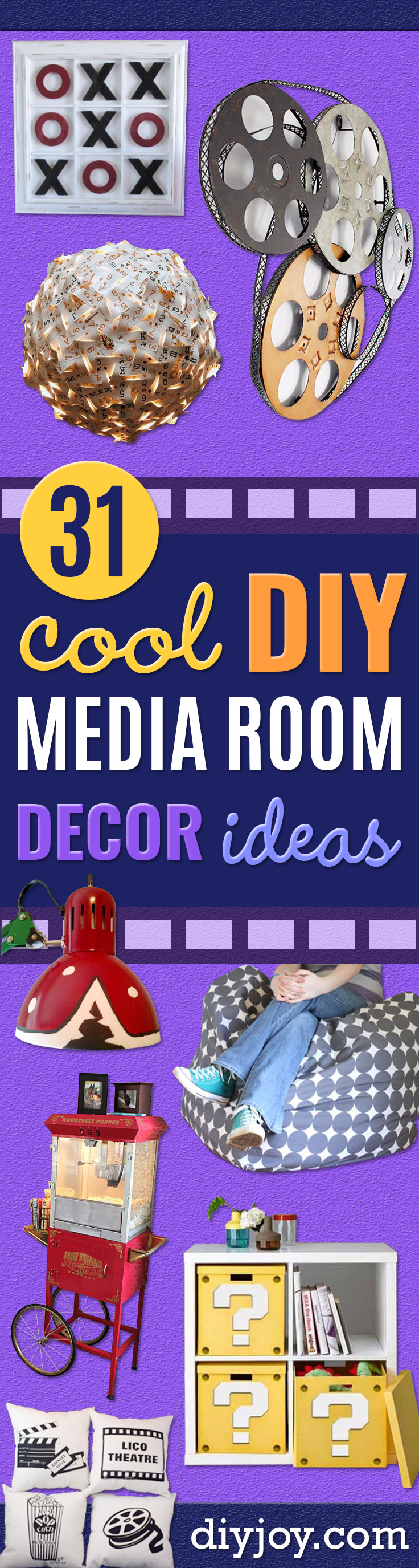 DIY Media Room Ideas - Do It Yourself TV Consoles, Wall Art, Sofas and Seating, Chairs, TV Stands, Remote Holders and Shelving Tutorials - Creative Furniture for Movie Rooms and Video Game Stations