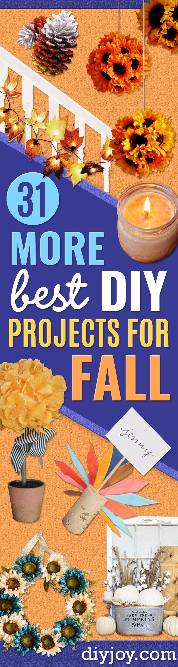 Fall Crafts Ideas - DIY Fall Decor Projects - Autumn Decorating - Easy Mason Jar Idea, Dollar Store Crafts, Rustic Pumpkin Ideas, Wreaths, Candles and Wall Art, Centerpieces