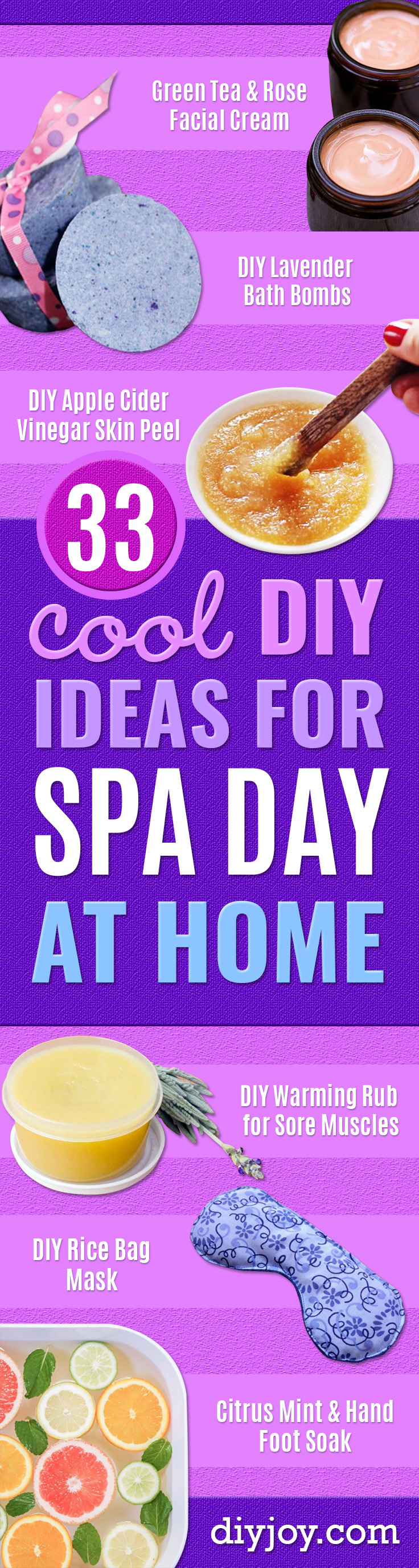 DIY Spa Day Ideas - Luxurious DIY Spa Night at Home - Easy Sugar Scrubs, Lotions and Bath Ideas for The Best Pampering You Can Do At Home - Lavender Projects, Relaxing Baths and Bath Bombs, Tub Soaks and Facials - Step by Step Tutorials for Luxury Bath Products http://diyjoy.com/diy-spa-day-ideas