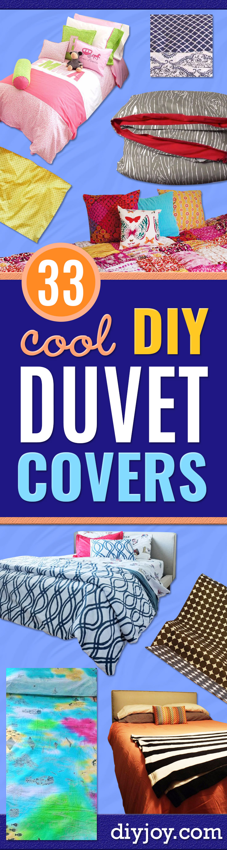 DIY Duvet Covers - Easy Sewing Projects and No Sew Ideas for Duvets - Cheap Bedroom Decor Ideas on A Budget - How To Sew A Duvet Cover and Bedding Tutorial - Creative Covers for Bed - Quick Projects for Making Designer Duvets - Awesome Home Decor Ideas and Crafts http://diyjoy.com/diy-duvet-covers