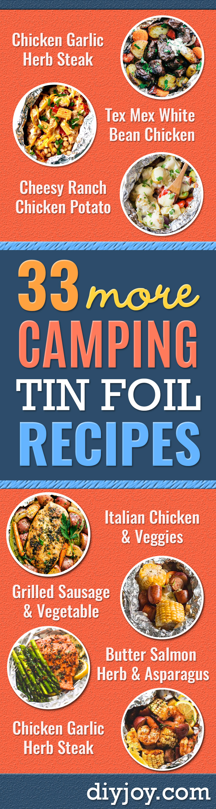 Tin Foil Camping Recipes - DIY Tin Foil Dinners, Ideas for Camping Trips and On Grill. Hamburger, Chicken, Healthy, Fish, Steak , Easy Make Ahead Recipe Ideas for the Campfire. Breakfast, Lunch, Dinner and Dessert, Snacks all Wrapped in Foil for Quick Cooking http://diyjoy.com/tinfoil-camping-recipes