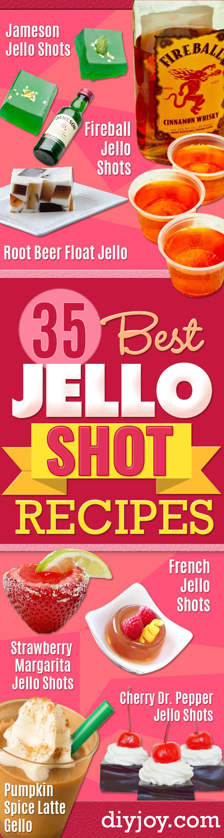 Jello Shot Recipes - Easy Jello Shots Recipe Ideas with Vodka, Strawberry, Tequila, Rum, Jolly Rancher and Creative Alcohol - Unique and Fun Drinks for Parties like Whiskey Fireball, Fall Halloween Versions, Malibu, 4th of July, Birthday, Summer, Christmas and Birthdays