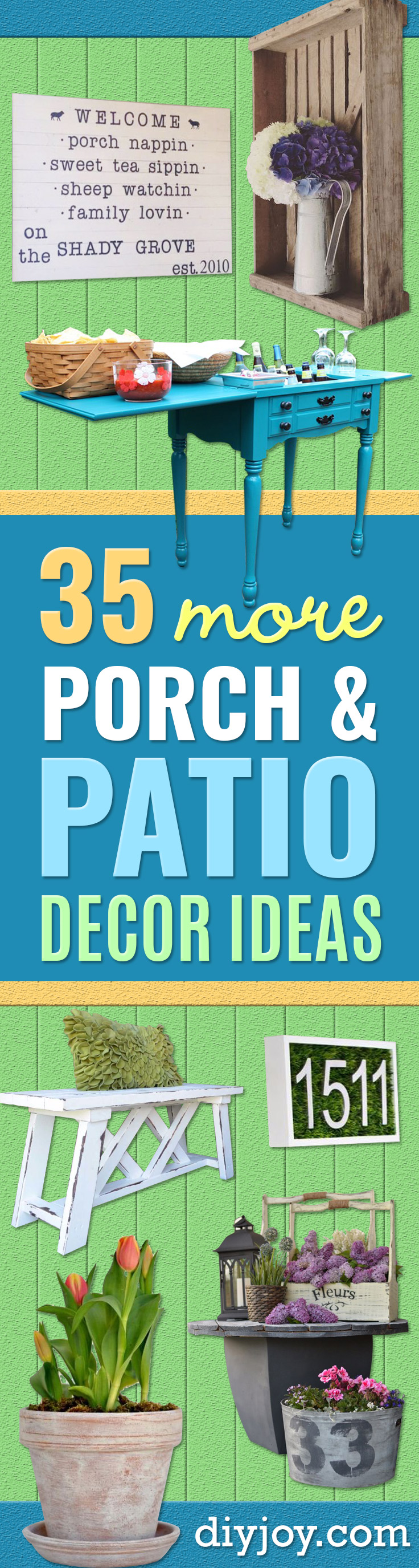 DIY Porch and Patio Ideas - Decor Projects and Furniture Tutorials You Can Build for the Outdoors - Lights and Lighting, Mason Jar Crafts, Rocking Chairs, Wreaths, Swings, Bench, Cushions, Chairs, Daybeds and Pallet Signs http://diyjoy.com/diy-porch-patio-decor