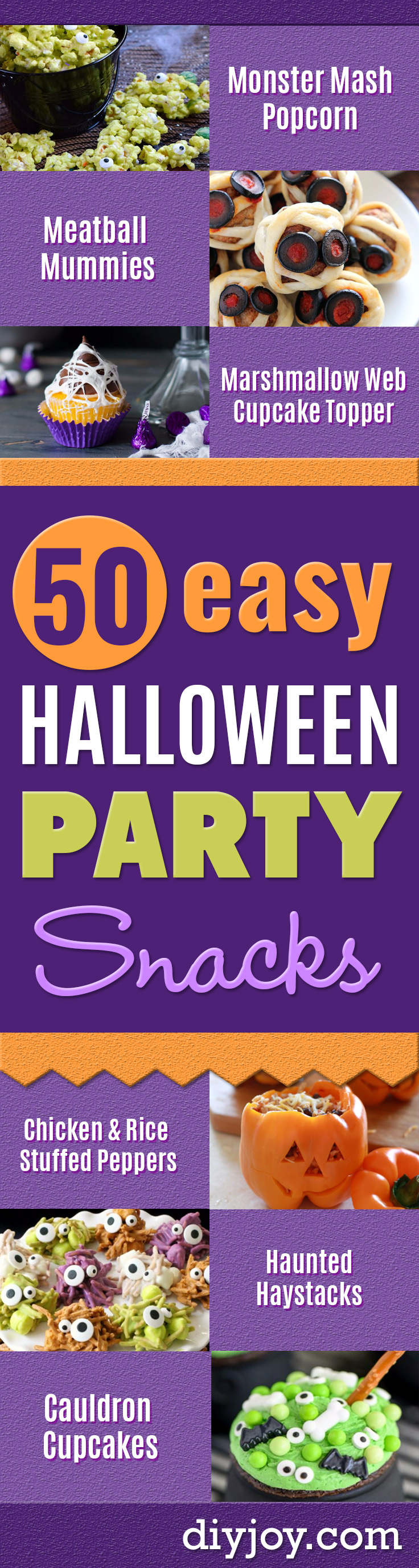 Best Halloween Party Snacks - Healthy Ideas for Kids for School, Teens and Adults - Easy and Quick Recipes and Idea for Dips, Chips, Spooky Cookies and Treats - Appetizers and Finger Foods Made With Vegetables, No Candy, Cheap Food, Scary DIY Party Foods With Step by Step Tutorials http://diyjoy.com/halloween-party-snacks