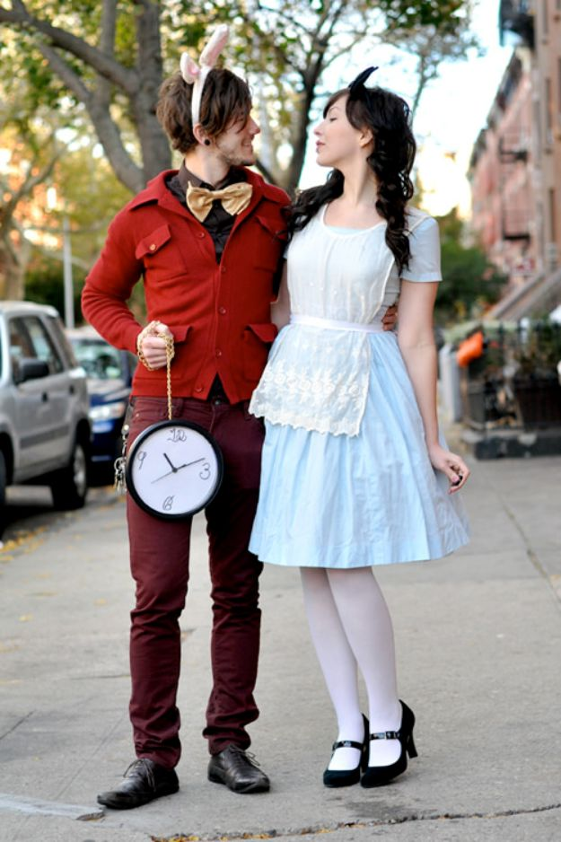 DIY Halloween Costumes for Couples - Alice And Mr. Rabbit - Funny, Creative and Scary Ideas for Parties, College Party - Unique and Cute Project Idea for Disney Characters, Superhero, Movie Themes, Bonnie and Clyde, Homemade Costume Projects for Boyfriends - Quick Last Minutes Halloween Costume Ideas from Pinterest http://diyjoy.com/best-halloween-costumes-couples