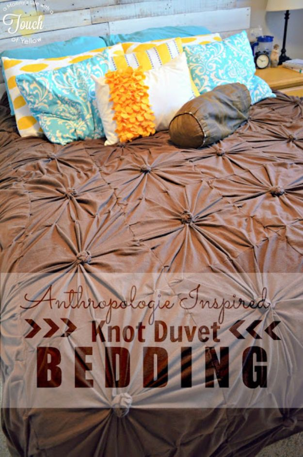 DIY Duvet Covers - Anthropologie Inspired Knot Bedding Duvet - Easy Sewing Projects and No Sew Ideas for Duvets - Cheap Bedroom Decor Ideas on A Budget - How To Sew A Duvet Cover and Bedding Tutorial - Creative Covers for Bed - Quick Projects for Making Designer Duvets - Awesome Home Decor Ideas and Crafts #duvet #diybedroom #roomdecor #sewingideas