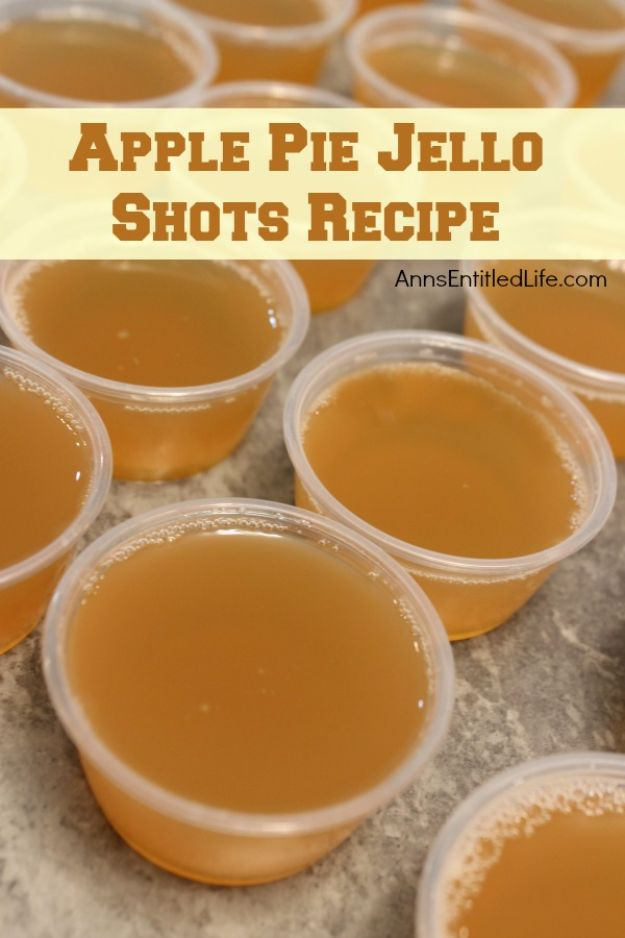 Best Jello Shot Recipes - Apple Pie Jello Shots - Easy Jello Shots Recipe Ideas with Vodka, Strawberry, Tequila, Rum, Jolly Rancher and Creative Alcohol - Unique and Fun Drinks for Parties like Whiskey Fireball, Fall Halloween Versions, Malibu, 4th of July, Birthday, Summer, Christmas and Birthdays #jelloshots #partydrinks #drinkrecipes