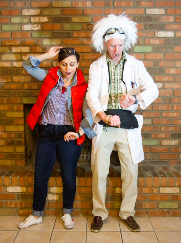 DIY Halloween Costumes for Couples - Back To The Future Costume - Funny, Creative and Scary Ideas for Parties, College Party - Unique and Cute Project Idea for Disney Characters, Superhero, Movie Themes, Bonnie and Clyde, Homemade Costume Projects for Boyfriends - Quick Last Minutes Halloween Costume Ideas from Pinterest http://diyjoy.com/best-halloween-costumes-couples
