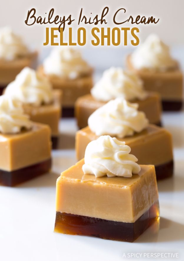Best Jello Shot Recipes - Baileys Irish Cream Jello Shots - Easy Jello Shots Recipe Ideas with Vodka, Strawberry, Tequila, Rum, Jolly Rancher and Creative Alcohol - Unique and Fun Drinks for Parties like Whiskey Fireball, Fall Halloween Versions, Malibu, 4th of July, Birthday, Summer, Christmas and Birthdays #jelloshots #partydrinks #drinkrecipes