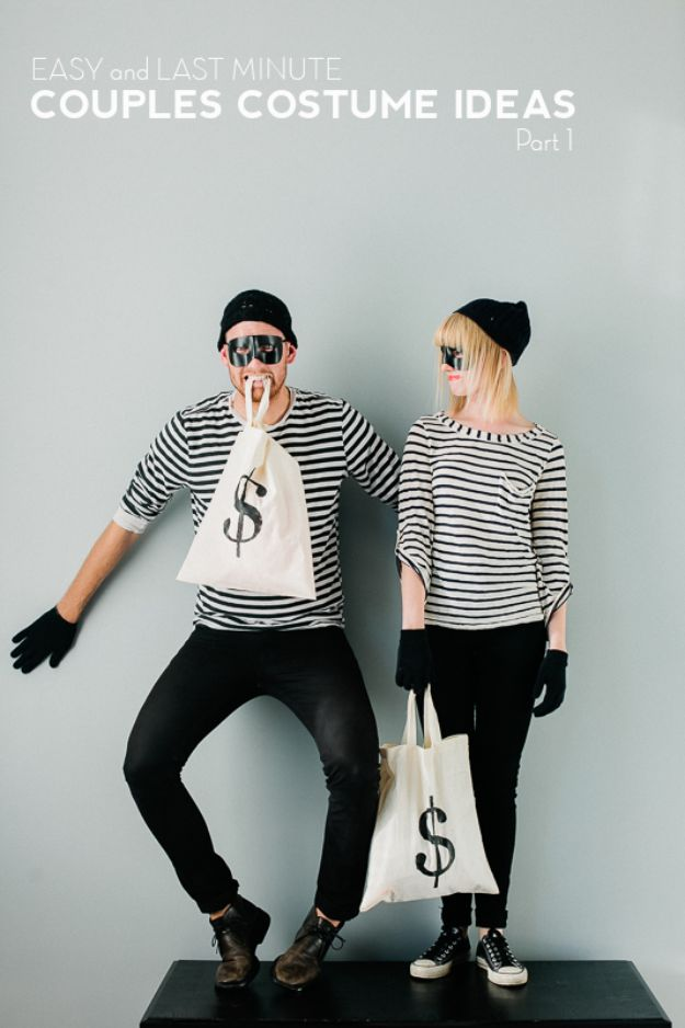 DIY Halloween Costumes for Couples - Bank Robber Bandits - Funny, Creative and Scary Ideas for Parties, College Party - Unique and Cute Project Idea for Disney Characters, Superhero, Movie Themes, Bonnie and Clyde, Homemade Costume Projects for Boyfriends - Quick Last Minutes Halloween Costume Ideas from Pinterest #halloween #halloweencostumes