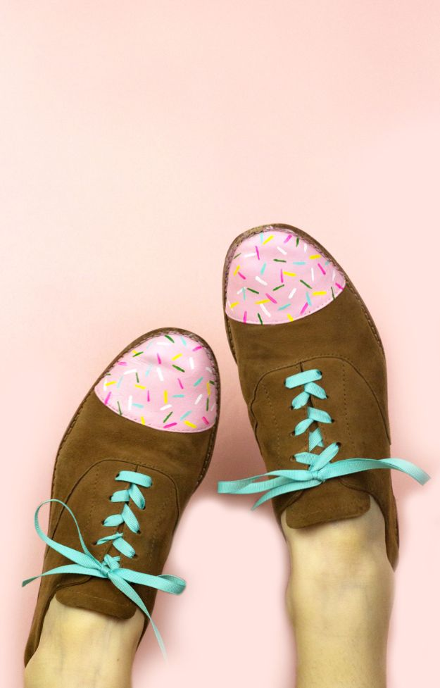 DIY Ideas for Tennis Shoes and Sneakers - Birthday Cake Shoes - Fun Projects to Decorate, Update and Style Your High Tops, Keds, Canvas Shoes, Chuck Taylors, White Converse and All Star - Tips, Tutorials, Free Pattern and Step by Step Tutorial - Sparkle, Glitter, Paint, Stencil Tie Dye - Cool Christmas Gifts and Presents and Homemade Gifts for Adults, Teens and Kids http://diyjoy.com/diy-ideas-tennis-shoes