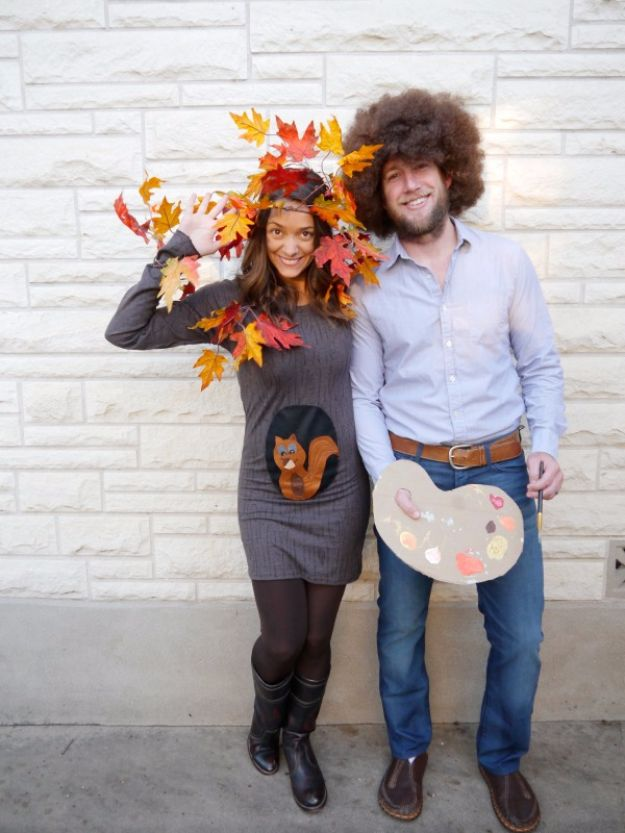 DIY Halloween Costumes for Couples - Bob Ross and Happy Little Tree - Funny, Creative and Scary Ideas for Parties, College Party - Unique and Cute Project Idea for Disney Characters, Superhero, Movie Themes, Bonnie and Clyde, Homemade Costume Projects for Boyfriends - Quick Last Minutes Halloween Costume Ideas from Pinterest #halloween #halloweencostumes