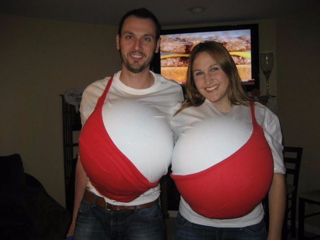 DIY Halloween Costumes for Couples - Bra Costume for Couples - Funny, Creative and Scary Ideas for Parties, College Party - Unique and Cute Project Idea for Disney Characters, Superhero, Movie Themes, Bonnie and Clyde, Homemade Costume Projects for Boyfriends - Quick Last Minutes Halloween Costume Ideas from Pinterest #halloween #halloweencostumes