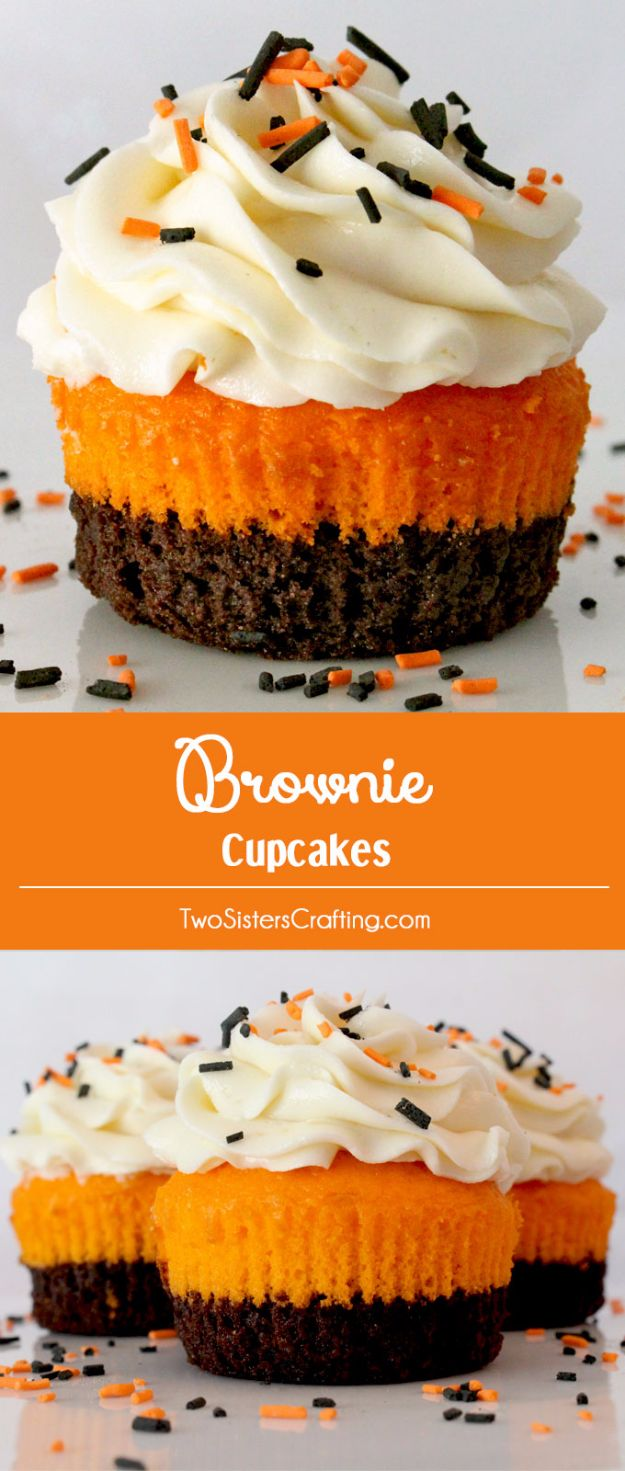 Best Halloween Party Snacks - Brownie Cupcakes - Healthy Ideas for Kids for School, Teens and Adults - Easy and Quick Recipes and Idea for Dips, Chips, Spooky Cookies and Treats - Appetizers and Finger Foods Made With Vegetables, No Candy, Cheap Food, Scary DIY Party Foods With Step by Step Tutorials http://diyjoy.com/halloween-party-snacks