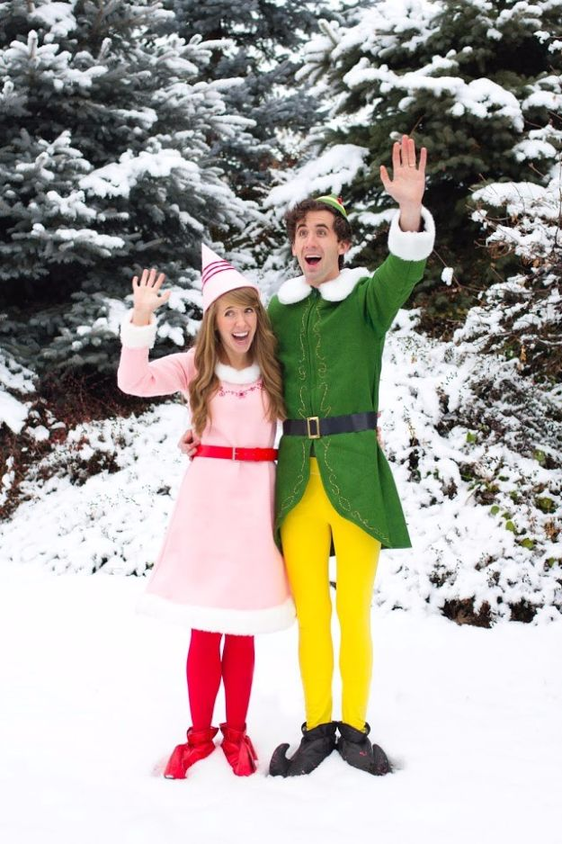 DIY Halloween Costumes for Couples - Buddy the ELF and Jovie Movie Character Couples Costume DIY - Funny, Creative and Scary Ideas for Parties, College Party - Unique and Cute Project Idea for Disney Characters, Superhero, Movie Themes, Bonnie and Clyde, Homemade Costume Projects for Boyfriends - Quick Last Minutes Halloween Costume Ideas from Pinterest #halloween #halloweencostumes
