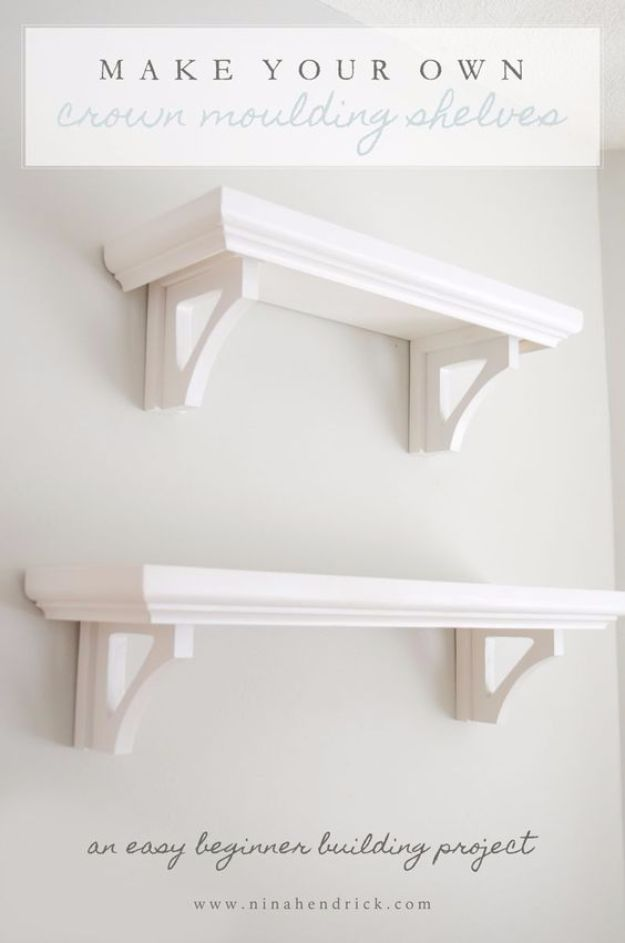 Cool Woodworking Tips - Build Your Own Crown Moulding Shelves - Easy Woodworking Ideas, Woodworking Tips and Tricks, Woodworking Tips For Beginners, Basic Guide For Woodworking - Refinishing Wood, Sanding and Staining, Cleaning Wood and Upcycling Pallets - Tips for Wooden Craft Projects http://diyjoy.com/diy-woodworking-ideas