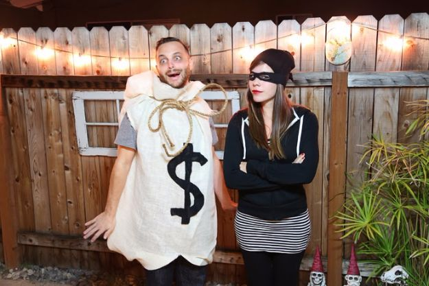 DIY Halloween Costumes for Couples - Burglar And Bag Of Money - Funny, Creative and Scary Ideas for Parties, College Party - Unique and Cute Project Idea for Disney Characters, Superhero, Movie Themes, Bonnie and Clyde, Homemade Costume Projects for Boyfriends - Quick Last Minutes Halloween Costume Ideas from Pinterest http://diyjoy.com/best-halloween-costumes-couples