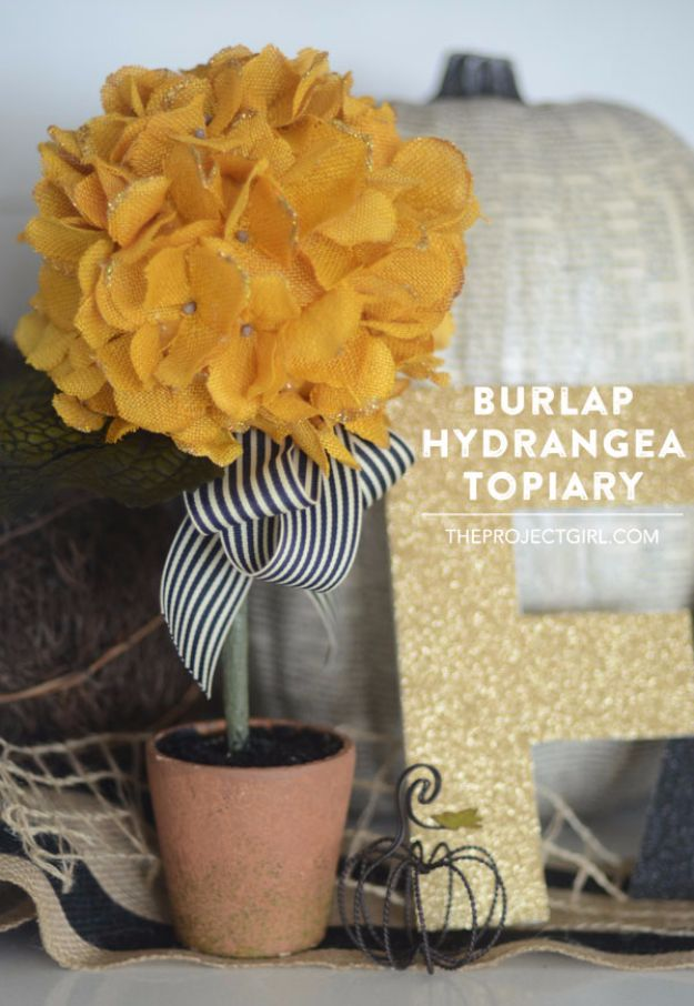 Best Crafts for Fall - Burlap Hydrangea Topiary - DIY Mason Jar Ideas, Dollar Store Crafts, Rustic Pumpkin Ideas, Wreaths, Candles and Wall Art, Centerpieces, Wedding Decorations, Homemade Gifts, Craft Projects with Leaves, Flowers and Burlap, Painted Art, Candles and Luminaries for Cool Home Decor - Quick and Easy Projects With Step by Step Tutorials and Instructions http://diyjoy.com/best-crafts-for-fall