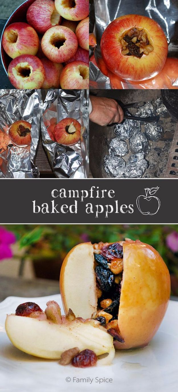 Tin Foil Camping Recipes - Campfire Baked Apples - DIY Tin Foil Dinners, Ideas for Camping Trips and On Grill. Hamburger, Chicken, Healthy, Fish, Steak , Easy Make Ahead Recipe Ideas for the Campfire. Breakfast, Lunch, Dinner and Dessert, Snacks all Wrapped in Foil for Quick Cooking http://diyjoy.com/tinfoil-camping-recipes