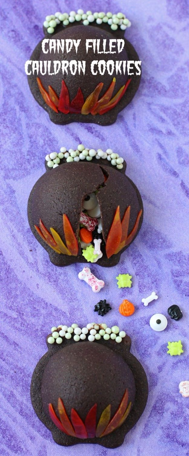 Best Halloween Party Snacks - Candy Filled Cauldron Cookies - Healthy Ideas for Kids for School, Teens and Adults - Easy and Quick Recipes and Idea for Dips, Chips, Spooky Cookies and Treats - Appetizers and Finger Foods Made With Vegetables, No Candy, Cheap Food, Scary DIY Party Foods With Step by Step Tutorials http://diyjoy.com/halloween-party-snacks