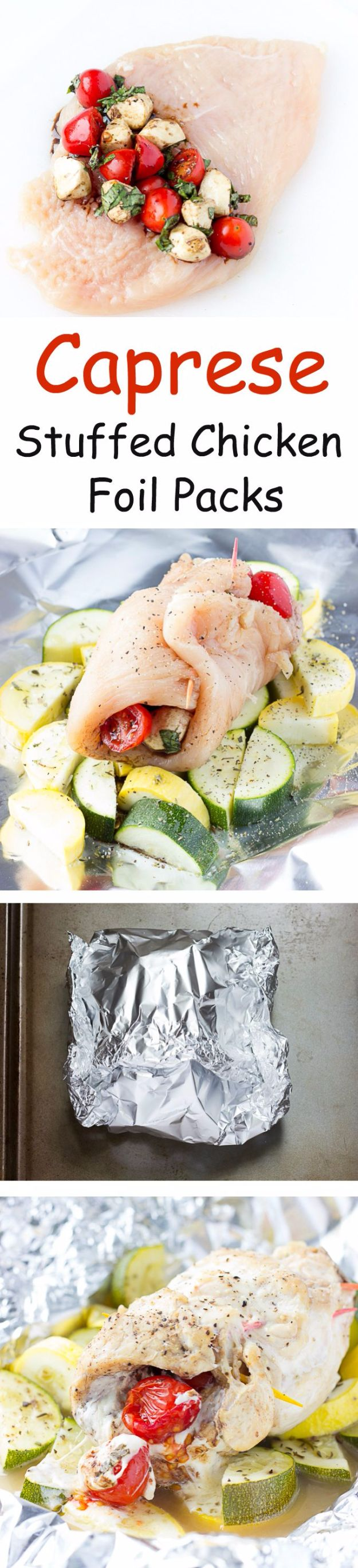 Tin Foil Camping Recipes - Caprese Stuffed Chicken Foil Packs - DIY Tin Foil Dinners, Ideas for Camping Trips and On Grill. Hamburger, Chicken, Healthy, Fish, Steak , Easy Make Ahead Recipe Ideas for the Campfire. Breakfast, Lunch, Dinner and Dessert, Snacks all Wrapped in Foil for Quick Cooking http://diyjoy.com/tinfoil-camping-recipes