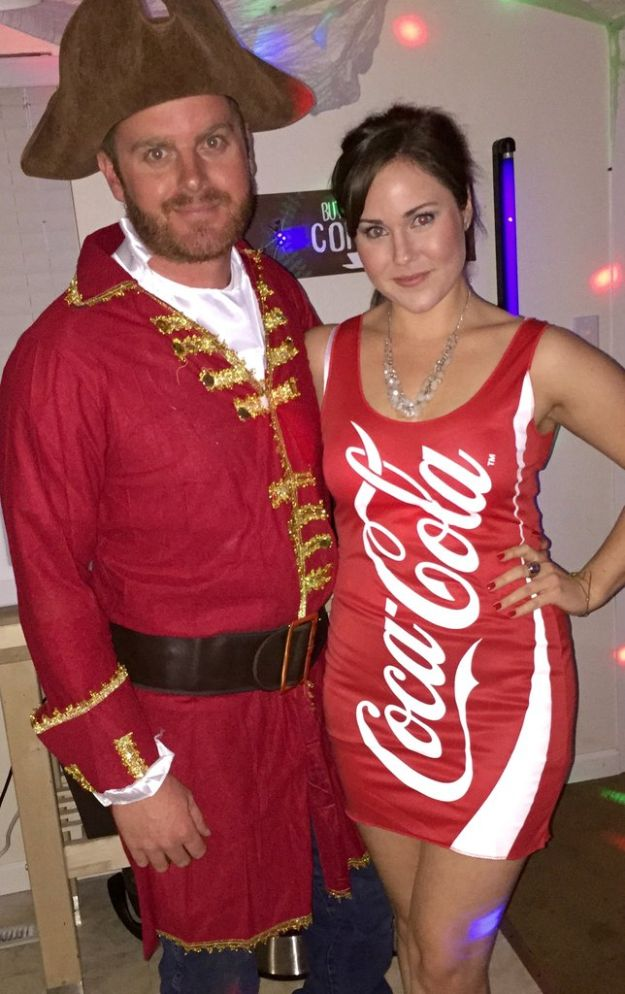 DIY Halloween Costumes for Couples - Captain and Coke - Funny, Creative and Scary Ideas for Parties, College Party - Unique and Cute Project Idea for Disney Characters, Superhero, Movie Themes, Bonnie and Clyde, Homemade Costume Projects for Boyfriends - Quick Last Minutes Halloween Costume Ideas from Pinterest #halloween #halloweencostumes