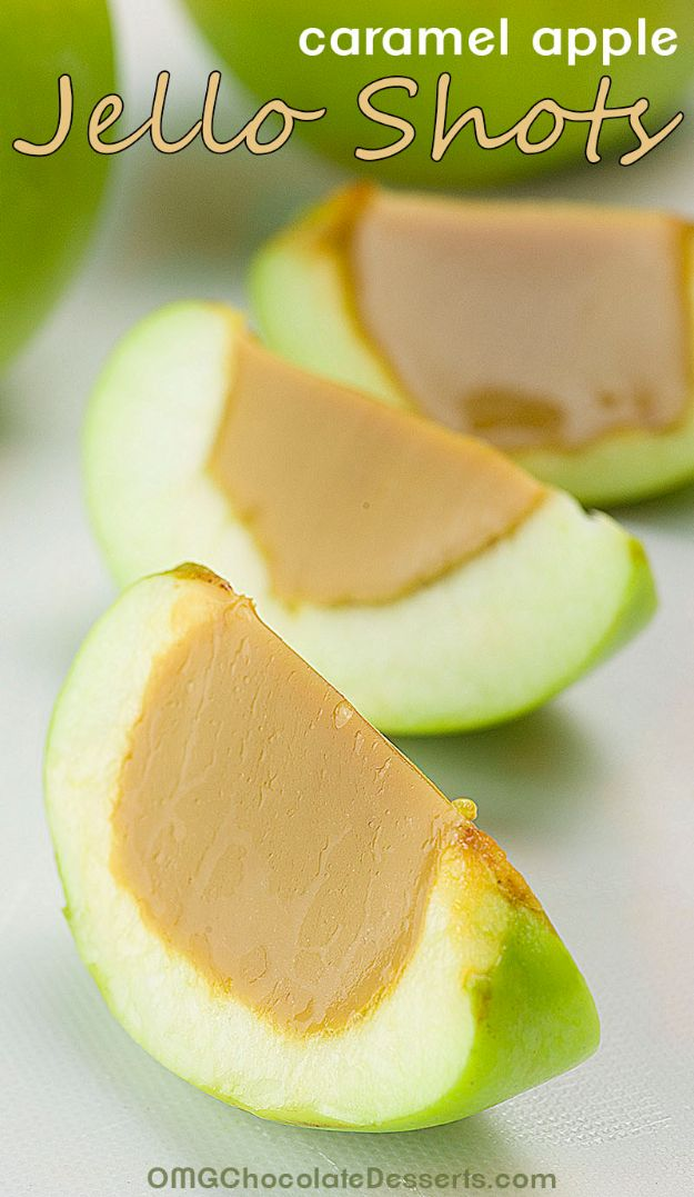 Best Jello Shot Recipes - Caramel Apple Jello Shots - Easy Jello Shots Recipe Ideas with Vodka, Strawberry, Tequila, Rum, Jolly Rancher and Creative Alcohol - Unique and Fun Drinks for Parties like Whiskey Fireball, Fall Halloween Versions, Malibu, 4th of July, Birthday, Summer, Christmas and Birthdays http://diyjoy.com/best-jello-shot-recipes