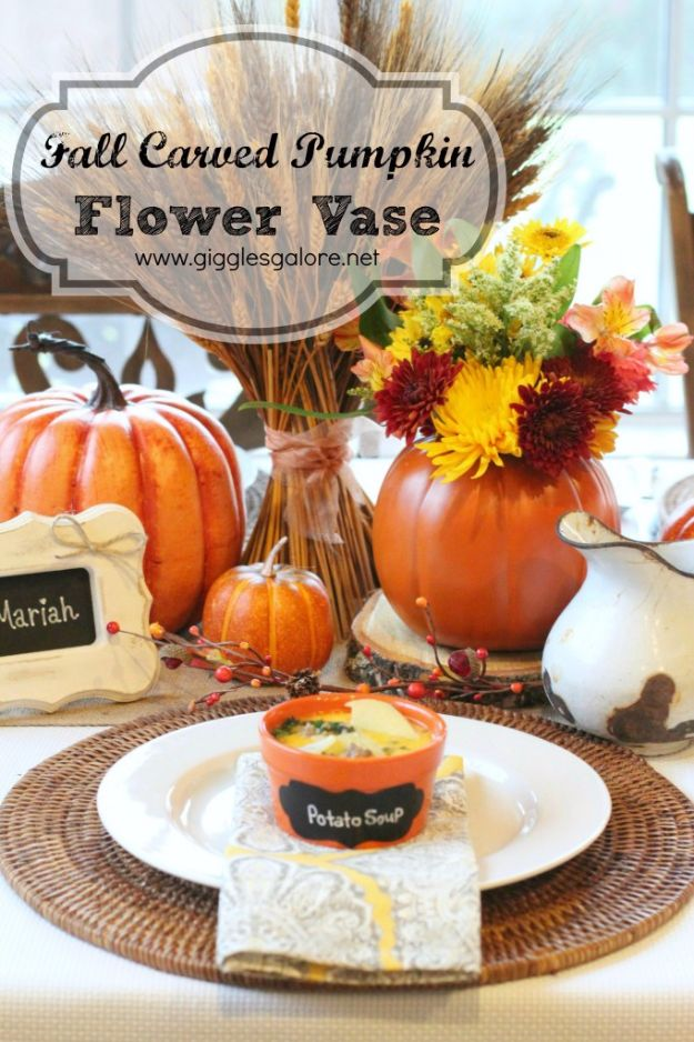 Best Crafts for Fall - Carved Pumpkin Flower Vase - DIY Mason Jar Ideas, Dollar Store Crafts, Rustic Pumpkin Ideas, Wreaths, Candles and Wall Art, Centerpieces, Wedding Decorations, Homemade Gifts, Craft Projects with Leaves, Flowers and Burlap, Painted Art, Candles and Luminaries for Cool Home Decor - Quick and Easy Projects With Step by Step Tutorials and Instructions http://diyjoy.com/best-crafts-for-fall