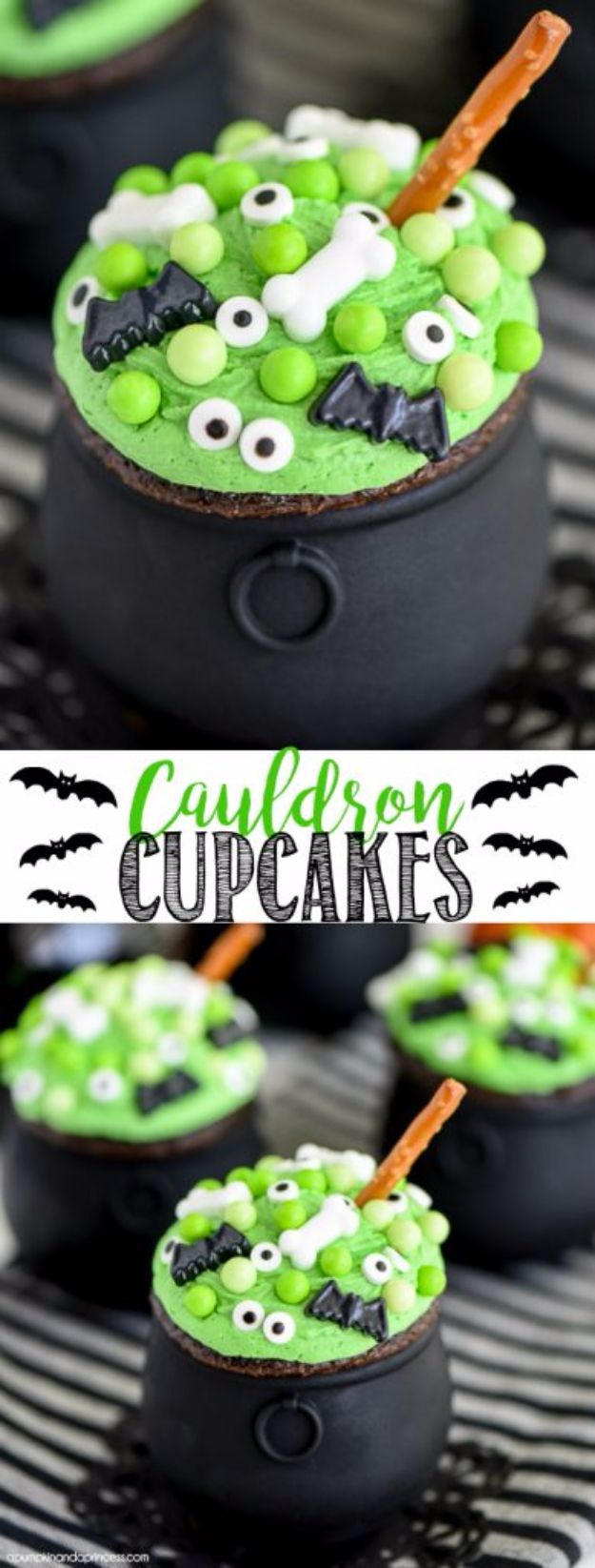 Cute Halloween Party Recipes - Cauldron Cupcakes - Healthy Ideas for Kids for School, Teens and Adults - Easy and Quick Recipes and Idea for Dips, Chips, Spooky Cookies and Treats - Appetizers and Finger Foods Made With Vegetables, No Candy, Cheap Food, Scary DIY Party Foods With Step by Step Tutorials #halloween #halloweenrecipes #halloweenparty