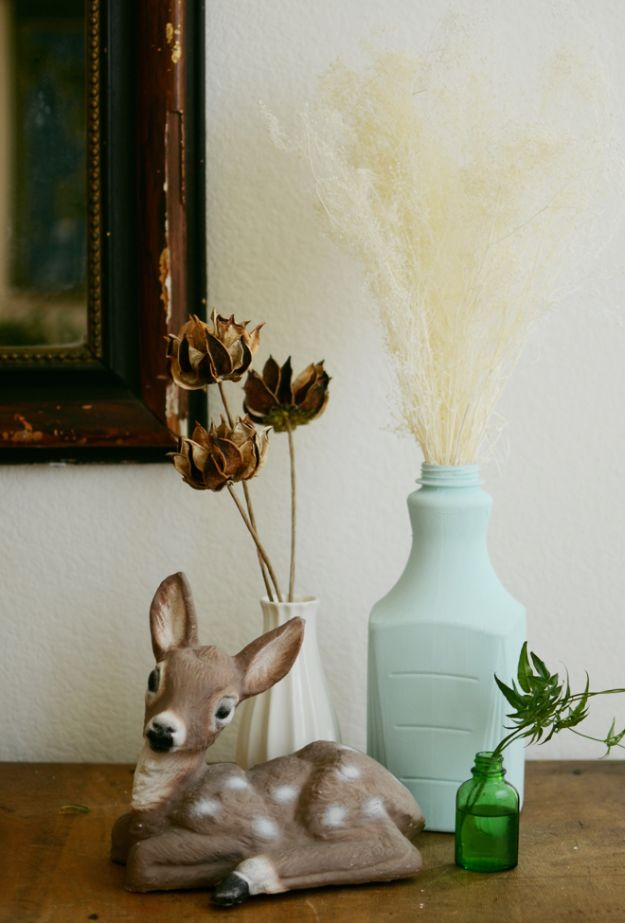 Best Crafts for Fall - Chalk Finish Recycled Bottle - DIY Mason Jar Ideas, Dollar Store Crafts, Rustic Pumpkin Ideas, Wreaths, Candles and Wall Art, Centerpieces, Wedding Decorations, Homemade Gifts, Craft Projects with Leaves, Flowers and Burlap, Painted Art, Candles and Luminaries for Cool Home Decor - Quick and Easy Projects With Step by Step Tutorials and Instructions http://diyjoy.com/best-crafts-for-fall