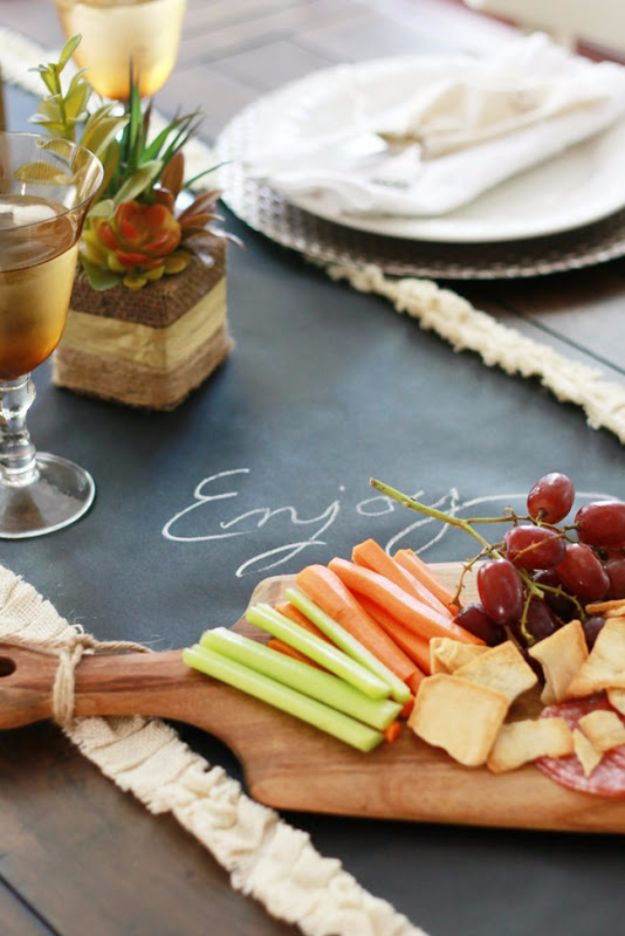 Best Crafts for Fall - Chalkboard Runner And Fall Table - DIY Mason Jar Ideas, Dollar Store Crafts, Rustic Pumpkin Ideas, Wreaths, Candles and Wall Art, Centerpieces, Wedding Decorations, Homemade Gifts, Craft Projects with Leaves, Flowers and Burlap, Painted Art, Candles and Luminaries for Cool Home Decor - Quick and Easy Projects With Step by Step Tutorials and Instructions http://diyjoy.com/best-crafts-for-fall