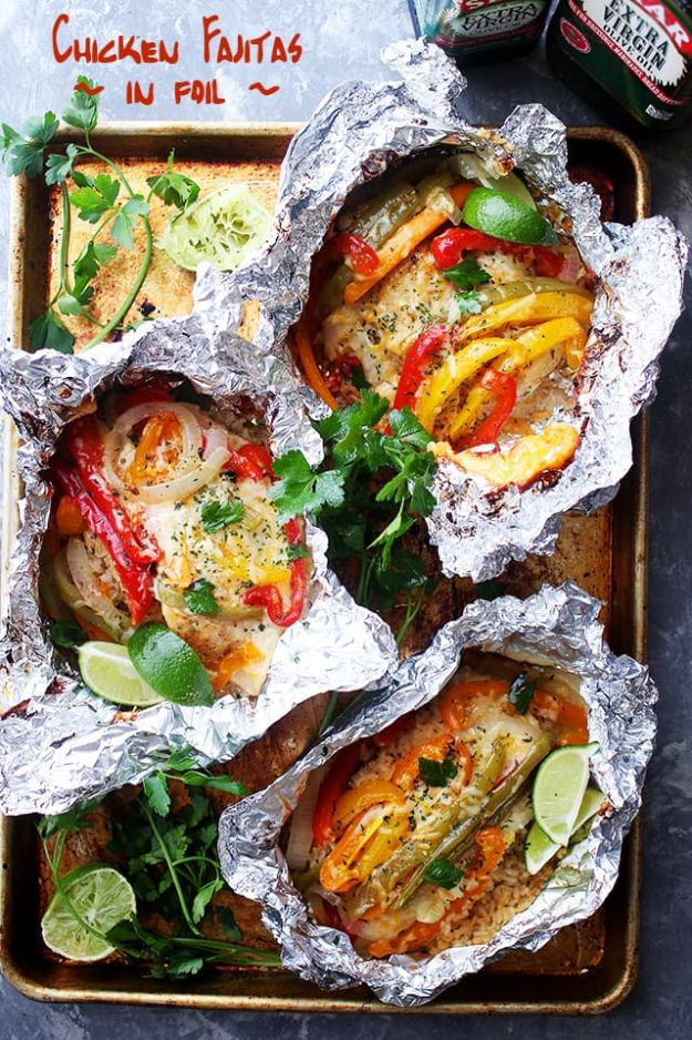 Tin Foil Camping Recipes - Chicken And Rice Fajitas In Foil - DIY Tin Foil Dinners, Ideas for Camping Trips and On Grill. Hamburger, Chicken, Healthy, Fish, Steak , Easy Make Ahead Recipe Ideas for the Campfire. Breakfast, Lunch, Dinner and Dessert, Snacks all Wrapped in Foil for Quick Cooking http://diyjoy.com/tinfoil-camping-recipes
