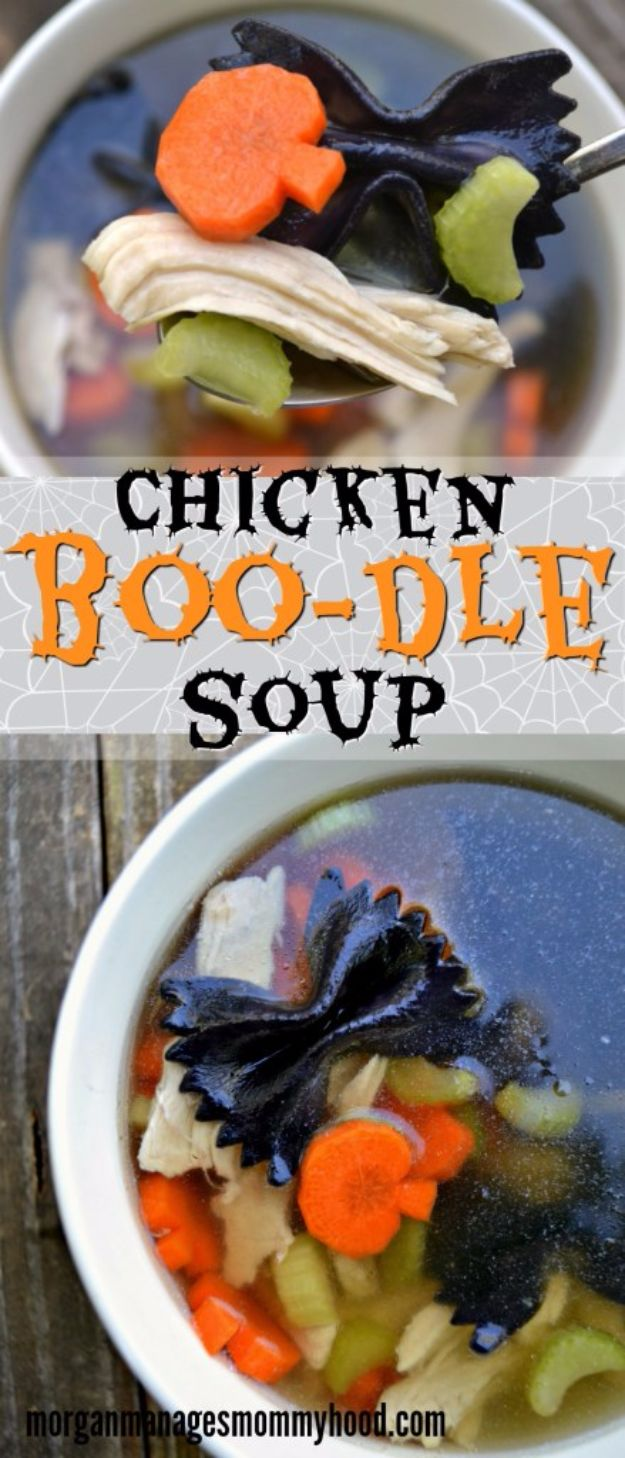 Best Halloween Party Snacks - Chicken Boo-dle Soup - Healthy Ideas for Kids for School, Teens and Adults - Easy and Quick Recipes and Idea for Dips, Chips, Spooky Cookies and Treats - Appetizers and Finger Foods Made With Vegetables, No Candy, Cheap Food, Scary DIY Party Foods With Step by Step Tutorials http://diyjoy.com/halloween-party-snacks