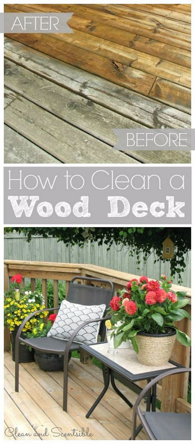 Cool Woodworking Tips - Clean Your Wood Deck The Right Way - Easy Woodworking Ideas, Woodworking Tips and Tricks, Woodworking Tips For Beginners, Basic Guide For Woodworking - Refinishing Wood, Sanding and Staining, Cleaning Wood and Upcycling Pallets - Tips for Wooden Craft Projects http://diyjoy.com/diy-woodworking-ideas
