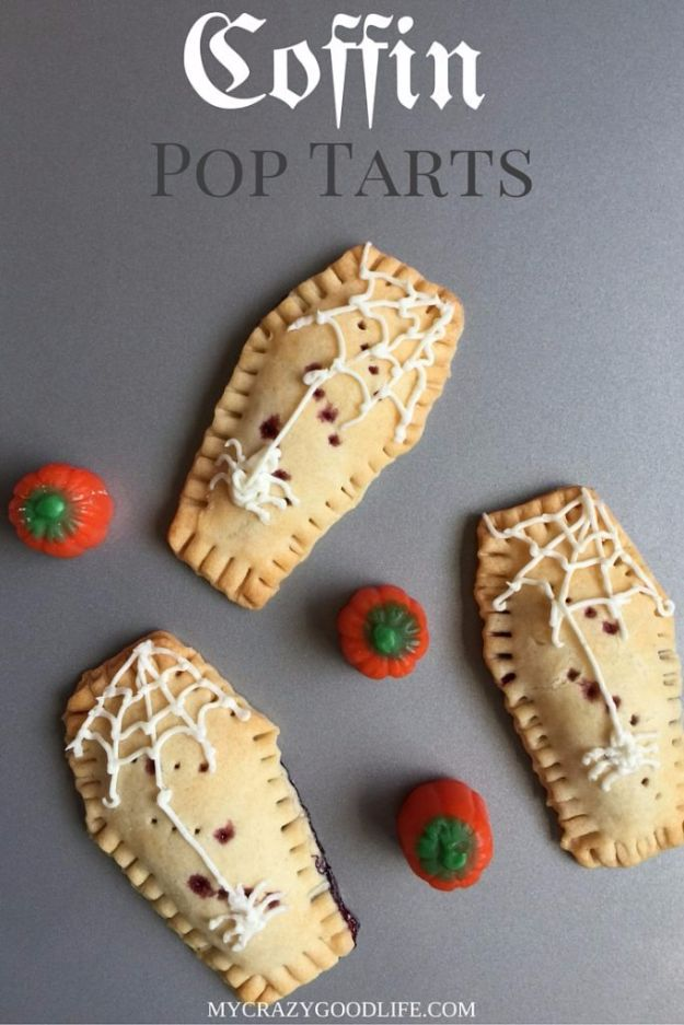 Best Halloween Party Snacks - Coffin Pop Tarts - Healthy Ideas for Kids for School, Teens and Adults - Easy and Quick Recipes and Idea for Dips, Chips, Spooky Cookies and Treats - Appetizers and Finger Foods Made With Vegetables, No Candy, Cheap Food, Scary DIY Party Foods With Step by Step Tutorials http://diyjoy.com/halloween-party-snacks