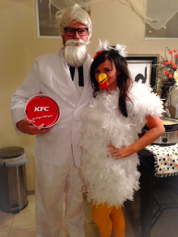 DIY Halloween Costumes for Couples - Colonel Sanders And Chicken - Funny, Creative and Scary Ideas for Parties, College Party - Unique and Cute Project Idea for Disney Characters, Superhero, Movie Themes, Bonnie and Clyde, Homemade Costume Projects for Boyfriends - Quick Last Minutes Halloween Costume Ideas from Pinterest http://diyjoy.com/best-halloween-costumes-couples