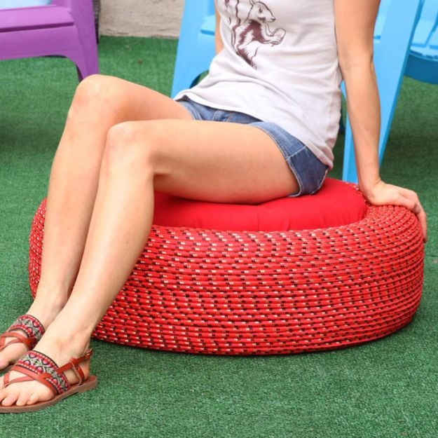 DIY Ideas With Old Tires - Colorful Outdoor Storage Seats - Rustic Farmhouse Decor Tutorials and Projects Made With An Old Tire - Easy Vintage Shelving, Wall Art, Swing, Ottoman, Seating, Furniture, Gardeing Ideas and Home Decor for Kitchen, Living Room, Bathroom and Backyard - Creative Country Crafts, Rustic Wall Art and Accessories to Make and Sell