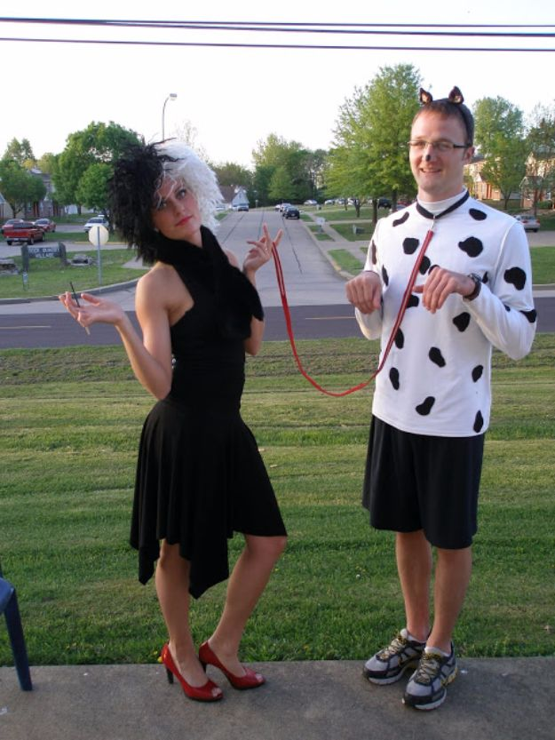 DIY Halloween Costumes for Couples - Cruella De Vil and a Dalmatian - Funny, Creative and Scary Ideas for Parties, College Party - Unique and Cute Project Idea for Disney Characters, Superhero, Movie Themes, Bonnie and Clyde, Homemade Costume Projects for Boyfriends - Quick Last Minutes Halloween Costume Ideas from Pinterest #halloween #halloweencostumes